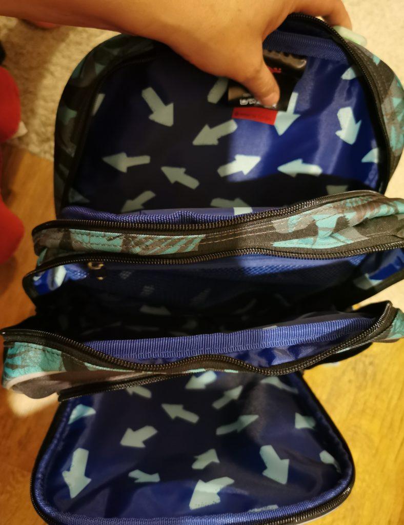 plecak szkolny - przegródki